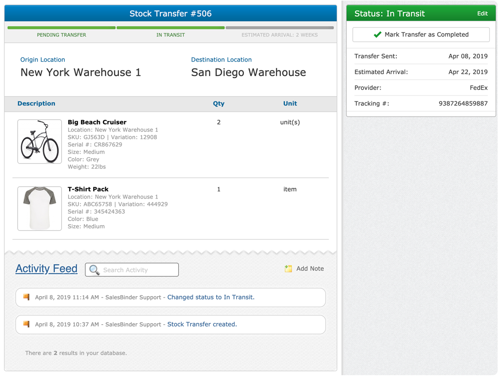 New: Stock Transfers With Shipment Tracking – SalesBinder News