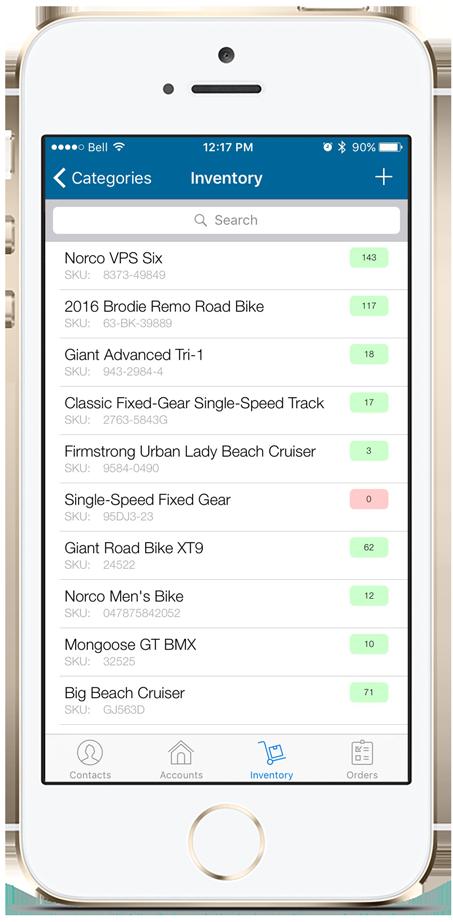 SalesBinder iPhone App Inventory Screen